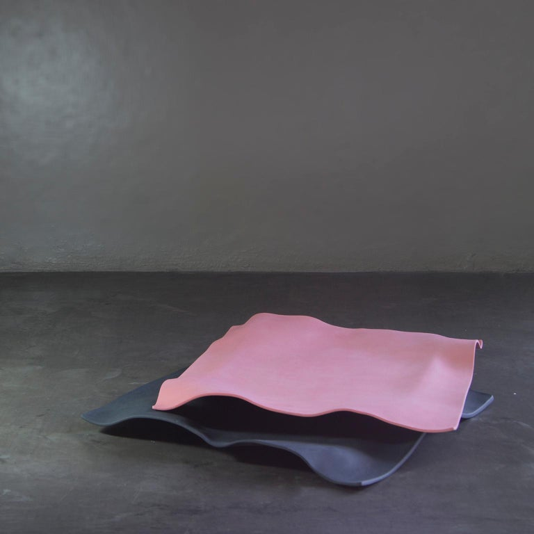 Contemporary Decorative Object, Matte Porcelain, Handmade Black Paper, in Stock For Sale 2