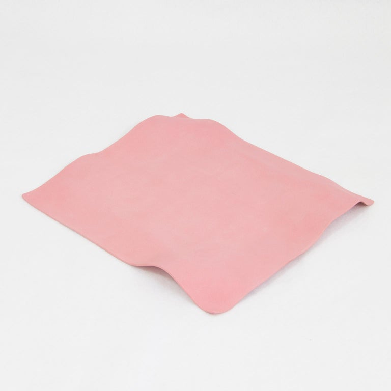 Minimalist Contemporary Decorative Object, Matte Porcelain, Handmade Pink Paper, in Stock For Sale