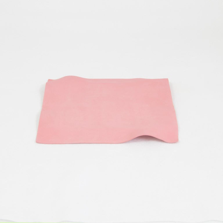 Mexican Contemporary Decorative Object, Matte Porcelain, Handmade Pink Paper, in Stock For Sale