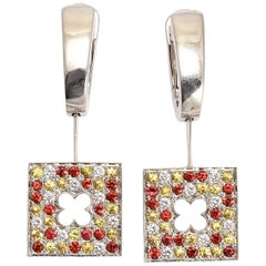 Contemporary Mauboussin Tri-Color Gemstone Earrings