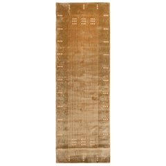 Maze Design Geometric Beige Wool and Silk Runner