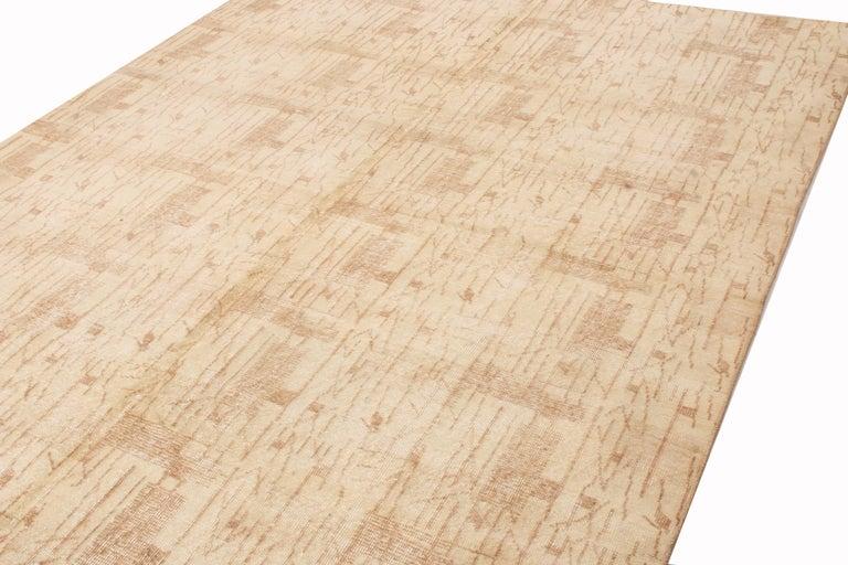 Turkish Contemporary Maze Design Geometric Beige Wool Rug