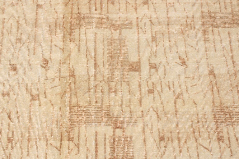 Hand-Knotted Contemporary Maze Design Geometric Beige Wool Rug