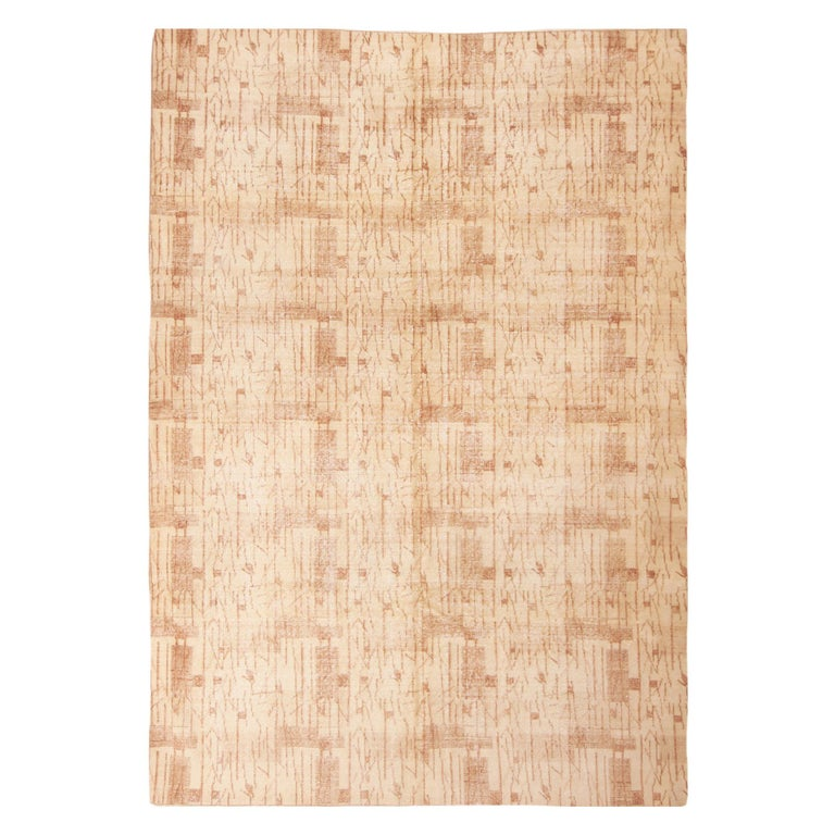 Contemporary Maze Design Geometric Beige Wool Rug