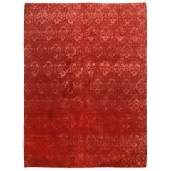 Contemporary Medici Geometric Red Wool and Silk Rug