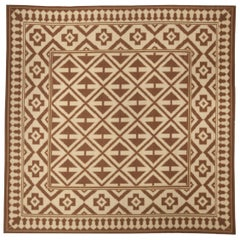 Contemporary Melograno Aubusson Brown and Beige Hand Knotted Wool Rug