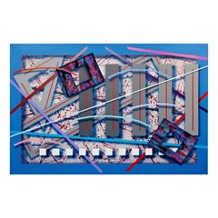 Contemporary Memphis Large Abstract Painting Canvas J. Ramsauer 1990s Vine Yard