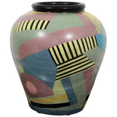 Contemporary Memphis Large Signed Ceramic Art Vase Table Floor Sculpture, 1980s