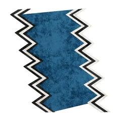 21st Century Modern Geometric Blue Rug in Wool Black & White
