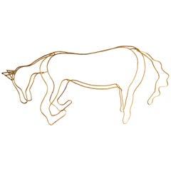 Contemporary Metal Horse Sculpture Golden by Alex Lazard, Mexico City