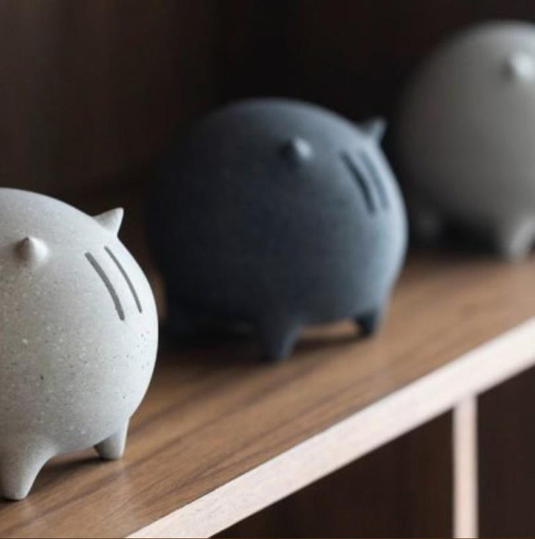 Contemporary Mexican design concrete piggy bank. A lovely bull shape concrete piggy bank hand-polished by Mexican Artisans. A collaboration with MDC.