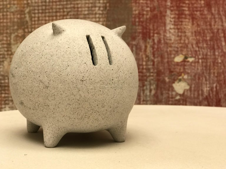 Molded Contemporary Mexican Design Concrete Piggy Bank For Sale