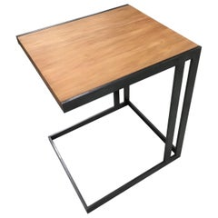 Contemporary Mica Side Table in Ancient Swamp Kauri Wood and Aged Steel