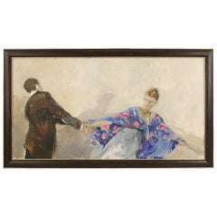 Contemporary Michal Zoborrowski Abstract Figural Painting of a Couple Dancing