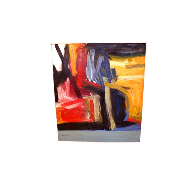 Contemporary Midcentury Large Abstract Oil Painting In Good Condition For Sale In Baltimore, MD