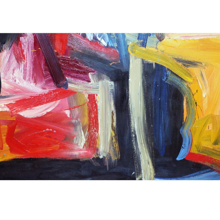 Canvas Contemporary Midcentury Large Abstract Oil Painting For Sale