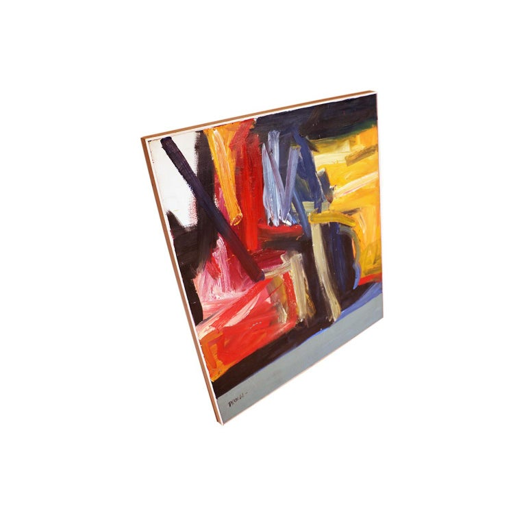 Contemporary Midcentury Large Abstract Oil Painting For Sale 1
