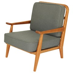 Contemporary Midcentury Inspired Cherrywood Armchair with Grey Upholstery