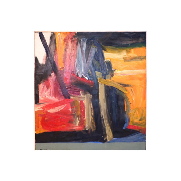 Contemporary Midcentury Large Abstract Oil Painting For Sale