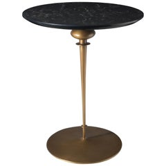 Contemporary Minaret Pedestal Table, Hand Cast Bronze Base and Caesarstone Top