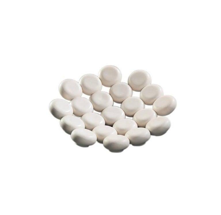 Contemporary Mini Vase and Bowl Ceramic Glazed Blue Matt White Kalpa