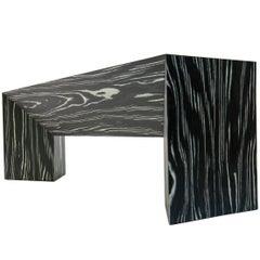 Zeitgenössische minimale schwarzweiß Ecowood Furnier Falte Bank, auf Lager, USA