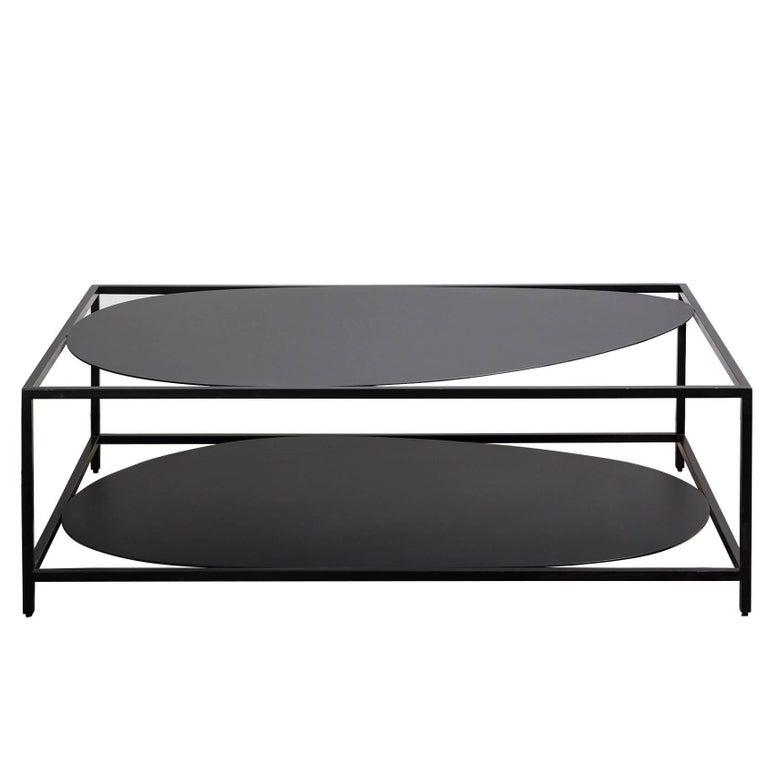 Modern Black Coffee Table For Sale: Contemporary Minimal Black Organic Sculptural Steel Coffee