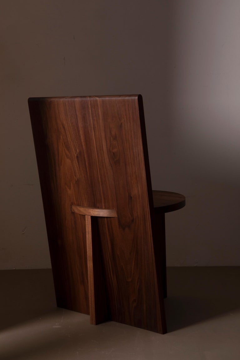 Modern Contemporary Minimal Geometric Walnut Side Chair by Campagna For Sale