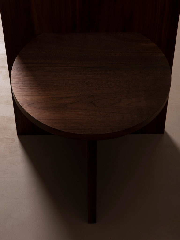 American Contemporary Minimal Geometric Walnut Side Chair by Campagna For Sale