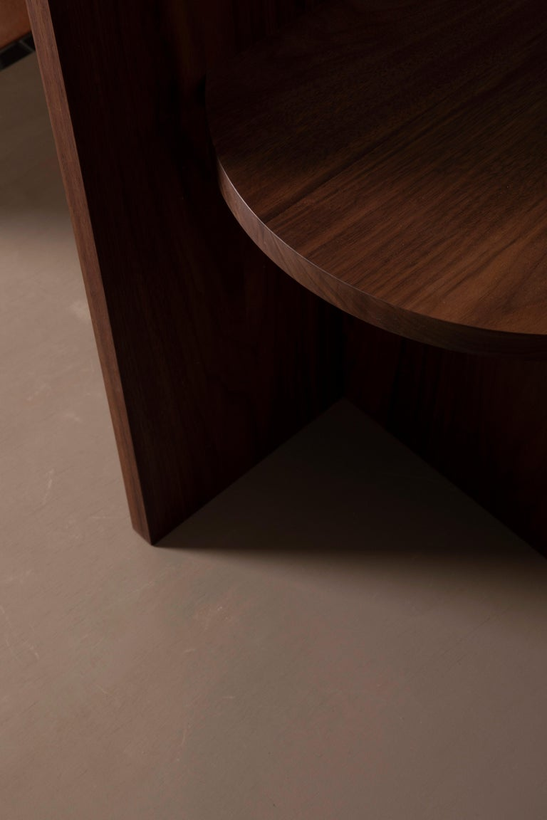 Hand-Crafted Contemporary Minimal Geometric Walnut Side Chair by Campagna For Sale