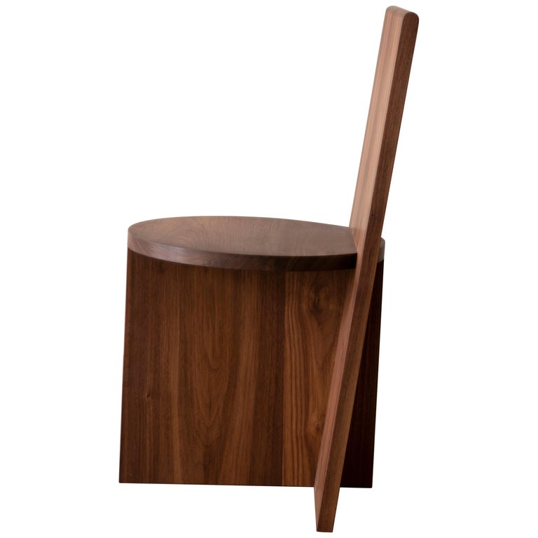 Contemporary Minimal Geometric Walnut Side Chair by Campagna For Sale