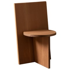 Contemporary Minimal Geometric White Oak Side Chair by Campagna, in Stock