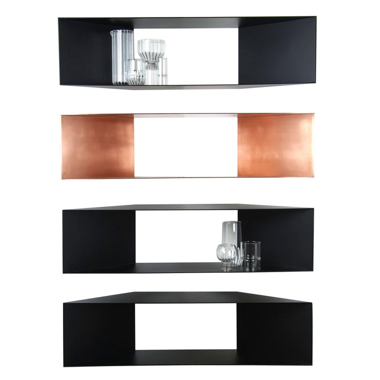 Contemporary Minimal Sculptural Metal Black and Copper Corner Shelves For Sale