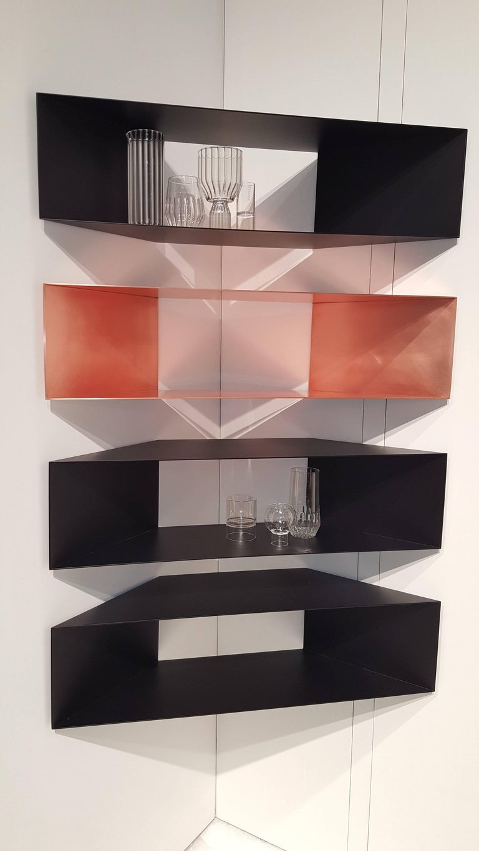 American Contemporary Minimal Sculptural Metal Black Corner Shelf, USA, in Stock For Sale