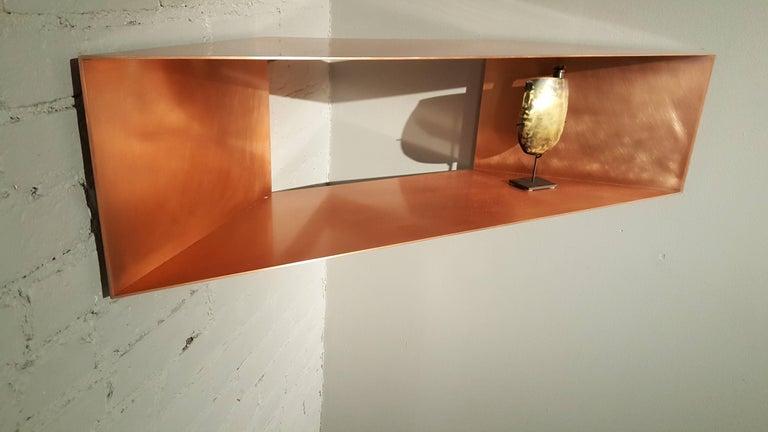 Modern Contemporary Minimal Sculptural Metal Copper Corner Shelves, USA, in Stock For Sale