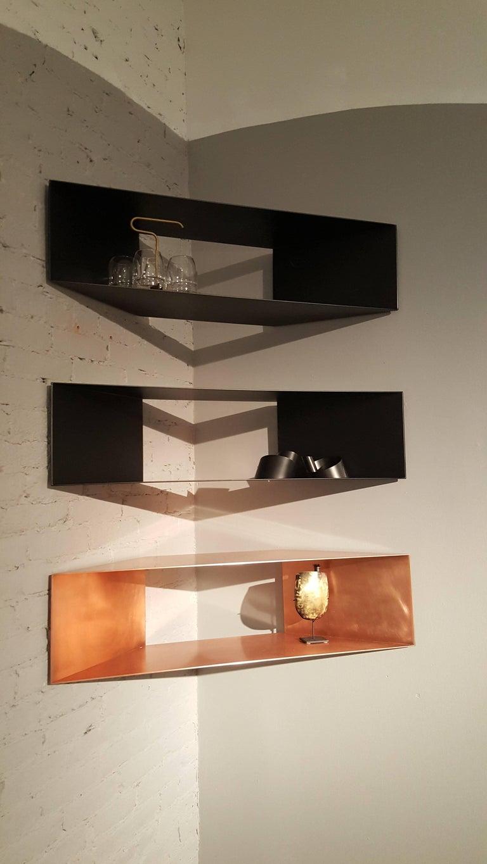 American Contemporary Minimal Sculptural Metal Copper Corner Shelves, USA, in Stock For Sale