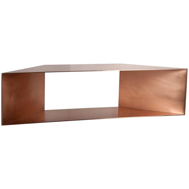 Contemporary Minimal Sculptural Metal Copper Corner Shelves, USA, in Stock For Sale