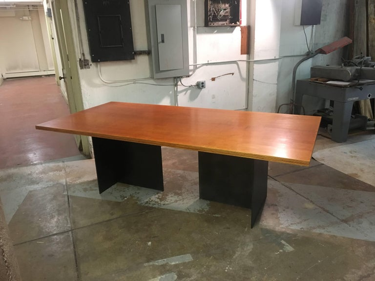 Contemporary Minimalist Blackened Steel and Birch Dining Table by Scott Gordon For Sale 1