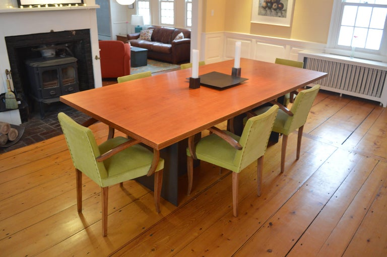 American Contemporary Minimalist Blackened Steel and Birch Dining Table by Scott Gordon For Sale