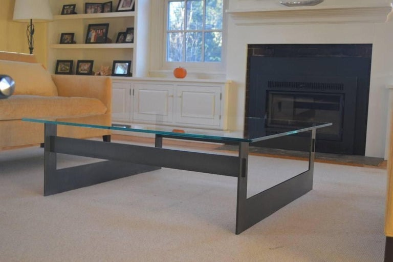 Contemporary Minimalist Blackened Steel and Glass Coffee Table by Scott Gordon For Sale 1