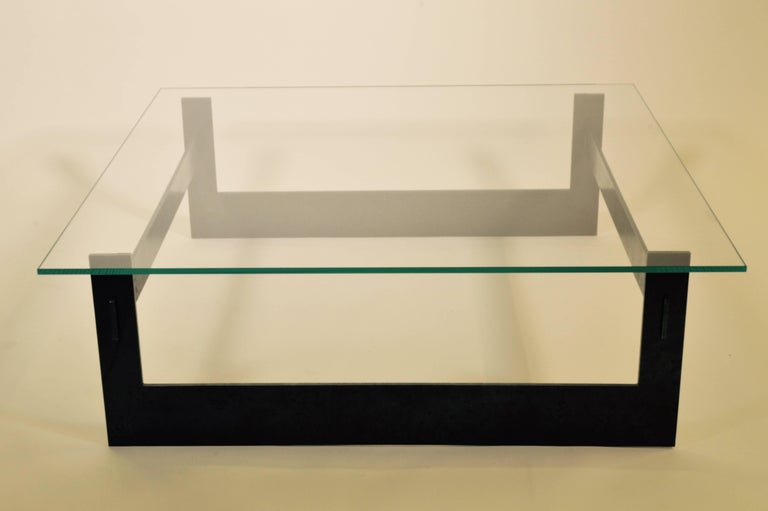 Contemporary Minimalist Blackened Steel and Glass Coffee Table by Scott Gordon For Sale 3
