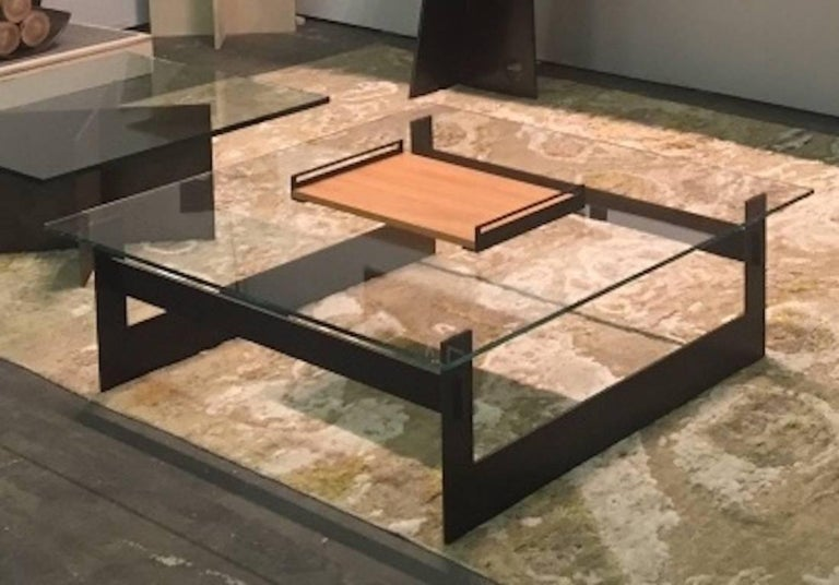Contemporary Minimalist Blackened Steel and Glass Coffee Table by Scott Gordon For Sale 4