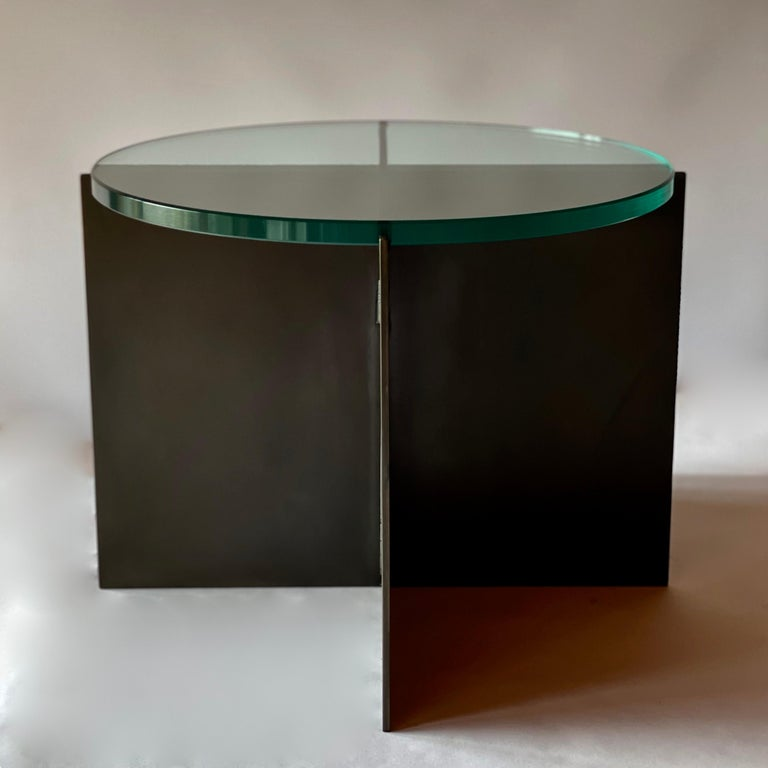 American Contemporary Minimalist Blackened Steel and Glass Side Table by Scott Gordon For Sale
