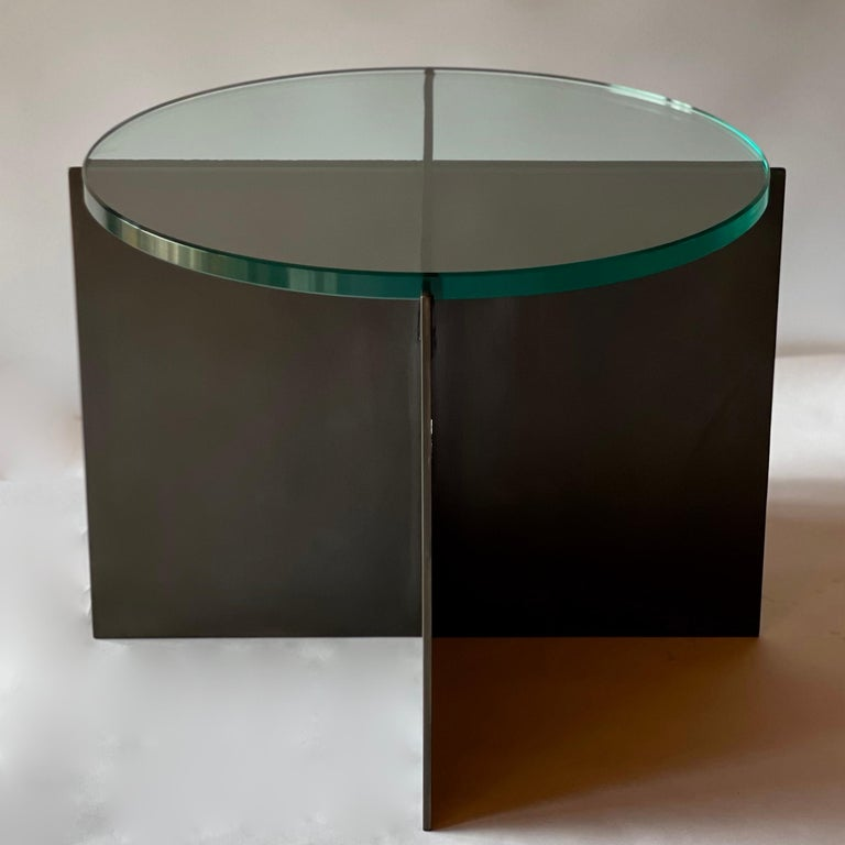 Contemporary Minimalist Blackened Steel and Glass Side Table by Scott Gordon In New Condition For Sale In Sharon, VT