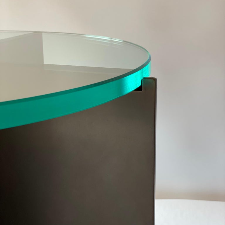 Contemporary Minimalist Blackened Steel and Glass Side Table by Scott Gordon For Sale 1