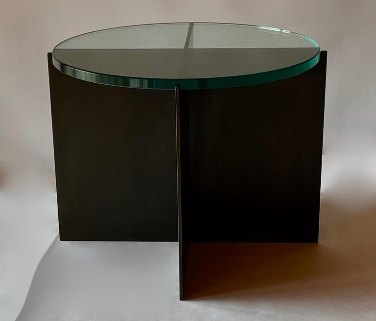 Contemporary Minimalist Blackened Steel and Glass Side Table by Scott Gordon For Sale 2