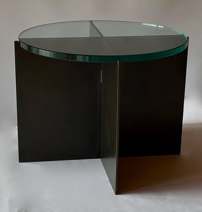 Contemporary Minimalist Blackened Steel and Glass Side Table by Scott Gordon For Sale 3