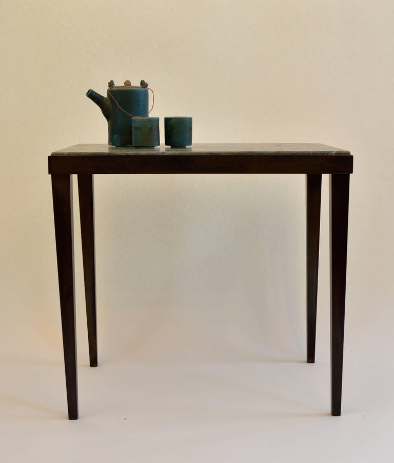 American Contemporary Minimalist Blackened Steel and Marble Side Table by Scott Gordon For Sale