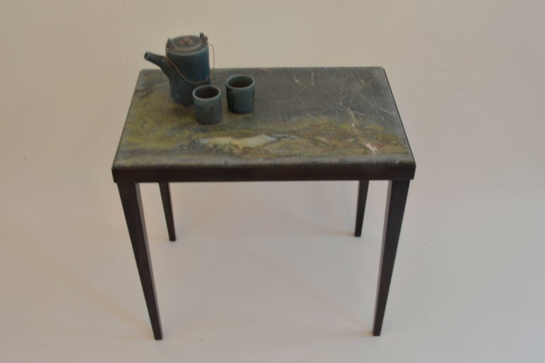 Contemporary Minimalist Blackened Steel and Marble Side Table by Scott Gordon In New Condition For Sale In Sharon, VT