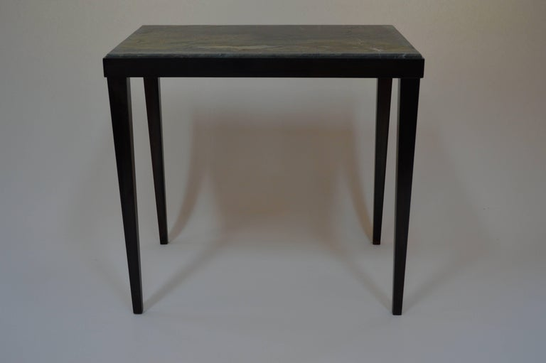 Contemporary Minimalist Blackened Steel and Marble Side Table by Scott Gordon For Sale 1